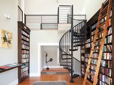 home library modern design with solid wood floor and steel stair