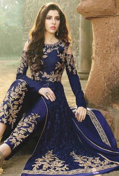 Featuring blue designer embroidered party wear suit with lace work on the borders of dupatta. TOP: Net , georgette and Australian silk BOTTOM: Santoon DUPATTA: Chiffon WORK: Embroidery and lace COLOR: Blue - The product will be shipped within 1 to 2 weeks from the date of purchase. - Product is returnable if un-Stitched - This product qualifies for free shipping