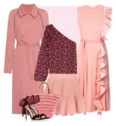 """Pink Ruffles"" by cherieaustin ❤ liked on Polyvore featuring Altuzarra, Bottega Veneta, Ulla Johnson, Mystique and Gianvito Rossi"