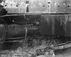USS Oklahoma (BB showing extent of torpedo damage, after being righted. Evidence suggests possible midget submarine strike using larger Type 97 torpedoes TNT equiv. warhead), compared to the Type 91 aerial variety Ww2 History, Military History, Naval History, Uss Oklahoma, Remember Pearl Harbor, Uss Arizona Memorial, Us Battleships, Pearl Harbor Attack, Interesting History