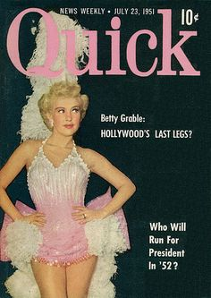 classic Hollywood movie magazine cover | ... Cover with Actress, Singer, Dancer Betty Grable, 1951 by classic_film