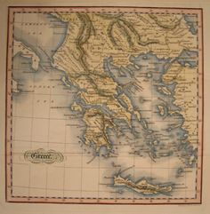 Early folding engraved map of Greece, c1800, possibly from a series by Rollins.