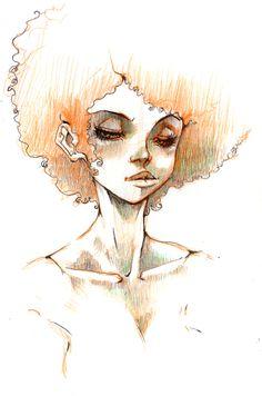 afro girl by the fuzzysocks on divant art