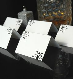 Snowflake Place Cards Winter Wedding Holiday Dinner Reception Wonderland Escort