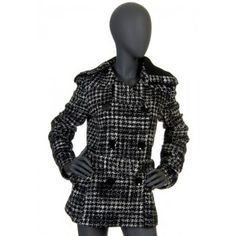 Trussardi - płaszcz w czarno białą kratkę
