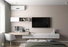 Home Room Design, Home Office Design, Home Interior Design, Living Room Designs, Tv In Bedroom, Home Decor Bedroom, Contemporary Bedroom, Modern Bedroom, Modern Contemporary