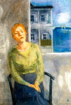 Bernáth, Aurél At the Sea (Portrait from Sassnitz, Pöstyén), 1931 Figure Painting, Sea, Terraces, Balconies, Figurative, Drawings, Portraits, Paintings, Artists
