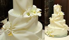 Wedding Cake with White Roses and Calla Lilies on Top