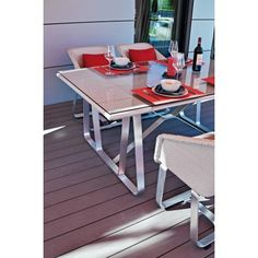 Salon de jardin en bois et aluminium Sevilla, grande table 200 ...