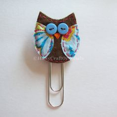 Fabric Owl Paperclip Owl Clip Owl Bookmark by HollyCraftOriginals Owl Crafts, Paper Crafts, Sewing Crafts, Sewing Projects, Diy Projects, Paperclip Crafts, Owl Fabric, Staff Appreciation, Paper Clip