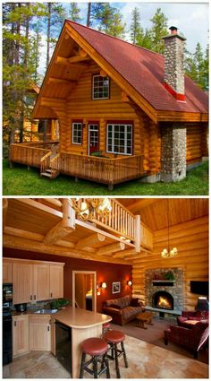 Small log cabin plans, small log homes, log cabin house plans, tiny log Log Cabin Living, Log Cabin Homes, Log Cabin Exterior, Tiny Log Cabins, Small Cabins, Mountain Cabins, Chalet Design, Cabin Design, Rustic Design