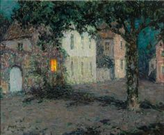 Henri Le Sidaner (French, 1862-1939) Square to Cherbourg at night, 1934 Oil on canvas