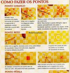 pontos para bordar tecido xadrex,Como bordar em tecido xadrex,Como fazer os pontos para bordar tecido xadrex