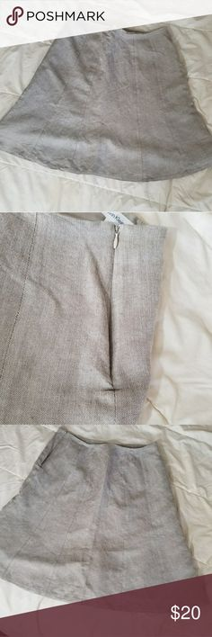 """CK Beige Lined Linen Skirt SZ 8 A-Line flare linen skirt. EUC- No Damage or stains Fully lined 55% Linen 45% Rayon 100% Polyester lining  Waist 16"""" across Hips 21"""" Length 21""""  Measurements are approximate and taken on flat lay Smoke/Pet Free Home Calvin Klein Skirts A-Line or Full"""