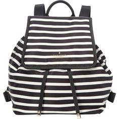 kate spade new york Classic Nylon Molly Backpack Handbag ($228) ❤ liked on Polyvore featuring bags, backpacks, black, designer handbags, handbags, black bag, flap backpack, black rucksack, black nylon backpack and nylon bag