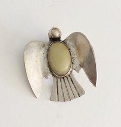 Mexican Silver Brooch Prehnite Stone Sterling Dove by BebeAndKay