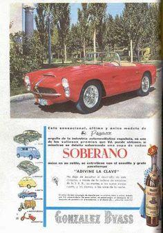 """Coche Pegaso premio para el """"sencillo y grato"""" pasatiempo """"Adivine la clave"""". Coñac Soberano de González Byass. """"Único"""". / The Pegaso automobile which was the prize for the """"simple and pleasant"""" passtime, """"Find the key"""" contest.  González Byass Soberano Cognac. """"Unique""""."""