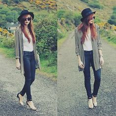 Great things happen when you let them. H&m Shorts, Striped Cardigan, Fedora Hat, Leather Pants, Nyc, Plaid, Street Style, Things Happen, Retro