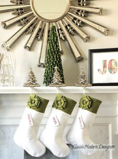 Modern Classic Wool Felt Christmas Stockings. Unique, Simple, Elegant, Beautiful! by ModernClassicDesigns on Etsy https://www.etsy.com/listing/194573777/modern-classic-wool-felt-christmas