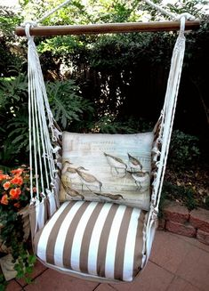Go to Bella Coastal Decor now and check out our fantastic selection of beach style furniture, such as this Shore Birds Chocolate Stripe Swing Set! Garden Hammock, Hammock Swing Chair, Swinging Chair, Porch Swing, Reading Nook Chair, Backpacking Hammock, Camping, Tommy Bahama Beach Chair, Long Pillow