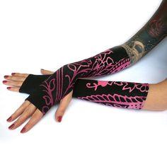 Purple Flowers Fingerless Gloves  Black & purple Arm by WearMeUp, $21.50