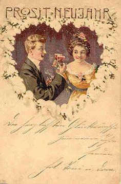 """ Prosit Neujahr "" Vintage New Year Post Card. Karodens Vintage Post Cards."