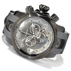 Invicta+Reserve+Mens+Venom+Monotone+Swiss+Made+Quartz+Chronograph+Stainless+Steel+Strap+Watch+