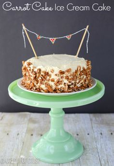 Carrot Cake Ice Cream Cake by crazyforcrust.com | A carrot cake topped with an easy cheesecake ice cream - the best cake for summer!