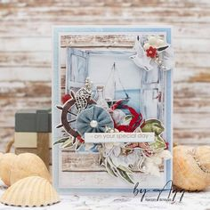 """@byaggiee: """"✂️Marine style card with You Tube tutorial✂️ Today I'd like to show you card in marine style for…"""" Studio Calico, Graphic 45, Special Day, Silhouette Cameo, I Card, Your Cards, Shabby, Scrapbooking, Gift Wrapping"""