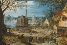 Bartholomeus Grondonck ACTIVE IN ANTWERP CIRCA 1617 KERMESSE OF OUDENARDE signed and dated lower centre:  B.v Grondonck 1617 oil on copper Note size   7 1/4  by 10 1/2  in.