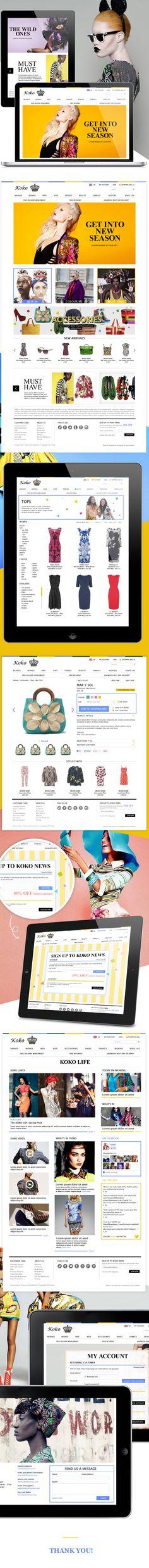 Koko stores E-commerce design by Ge Song, via Behance