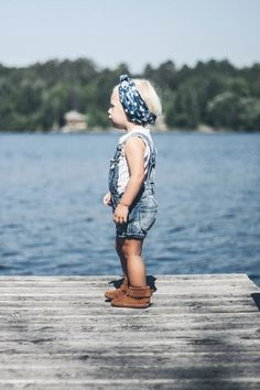 Washed overall shorts with mocs & an oh so cool head wrap....yes, yes and yes!