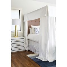 Master bedroom with gorgeous white canopy bed, ombre rug, and Seeing... ❤ liked on Polyvore featuring home, bed & bath, bedding, bed accessories, white euro pillow shams, canopy bedding, white euro sham, white bedding and white european shams