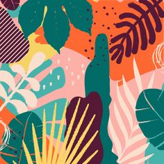 Tropical jungle leaves and flowers background. Exotic leaves, flowers, plants and branches art print. Garden Mural, Branch Art, Illustration Art, Illustrations, Plant Art, Leaf Flowers, Art Mural, Flower Backgrounds, Painting Inspiration