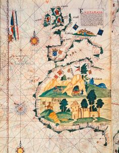 Map of Great Britain, Europe and North West Africa. Detail from Portugaliae Monumenta (vellum) Cartographica, an account of the discoveries of Fernao Gomez from 1470-75, 1563
