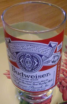 large 32 oz.  vintage Budwieser beer glass by theevintageshop, $10.00   nice Xmas gift for 10.00