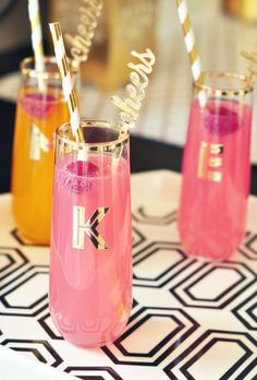 Monogrammed in metallic gold, these playfully pretty party glasses make perfect gifts for members of the bridal party or attendees of the bachelorette bash.