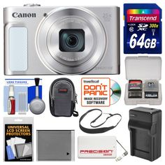 Canon PowerShot SX620 HS Wi-Fi Digital Camera (Silver) with 64GB Card  Case  Battery  Charger  Power Bank  Sling Strap  Kit