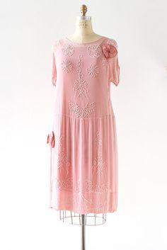 1920s Beaded Silk Flapper Dress via LantanaVintage #1920sdress #1920s #flapperdress #greatgatsby #thegreatgatsby #pinksilkdress #1920sbeadeddress