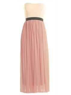 LOVE Dusky Mesh Pleated Skirt with Lace Strapless Top New Look Dresses, Modest Dresses, Bridesmaid Dresses, Bridesmaids, Maxi Dresses, Pleated Skirt, Dress Skirt, Bandeau Dress, Beachwear