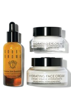 How to use: Apply Hydrating Eye Cream with fingers, patting gently around eye area. Follow with three drops of Intensive Skin Supplement, on face, neck and chest, avoiding eye area. Apply Hydrating Face Cream morning and night.