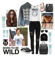 """""""Walking with Louis and Lottie"""" by youngsmile ❤ liked on Polyvore featuring adidas Originals, rag & bone, New Black, Ray-Ban, MAC Cosmetics, Fujifilm and Pusheen"""