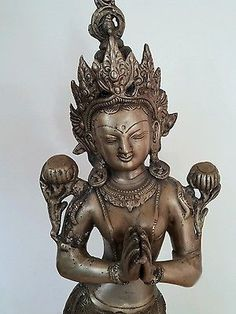 "BEAUTIFUL LARGE 20"" Hindu Buddhist Tara Brass Statue Standing Palms Together"