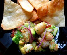 """Totopos With Shrimp And Avocado Salad"""