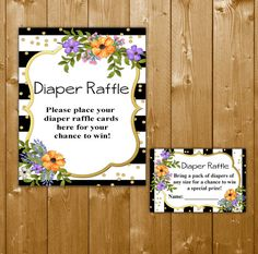 Diaper Raffle Floral, Diaper Raffle Ticket Baby Shower Diapers Printable Watercolor Floral Diaper Raffle, SFB03O Instant Download