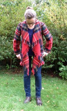 Blanket Waterfall Coat Tartan Pure Wool by didyoumakeityourself