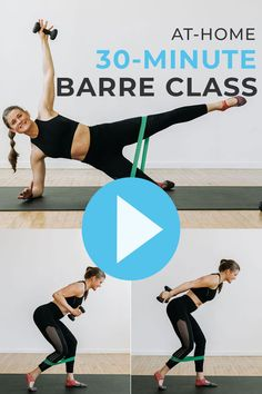 30 Minute Workout Video, Barre Workout Video, Workout Videos, Ballet Barre Workout, Cardio Barre, Pilates, Barre Exercises At Home, At Home Workouts, Hiit