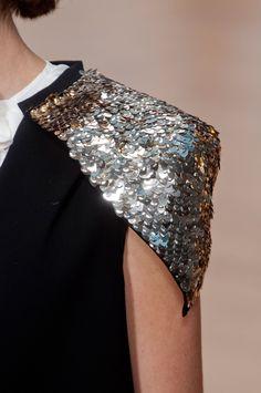 Black dress with sequinned shoulder pads - glam epaulettes; fashion details // Sass & Bide