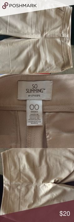 Chico's So Slimming beige short pants 00 Wore a couple of times. Side pockets are still mostly sewn shut. Great condition.  Inseam is about 29. 50% cotton. Wrinkled from storage. Size is about equal to size 6. Chico's Pants