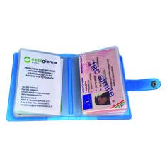 Porta Card 24 posti  Quantità: 300 pz.  Materiale: pvc motif colorato, satinato a base trasparente. Personalizzabile in serigrafia.